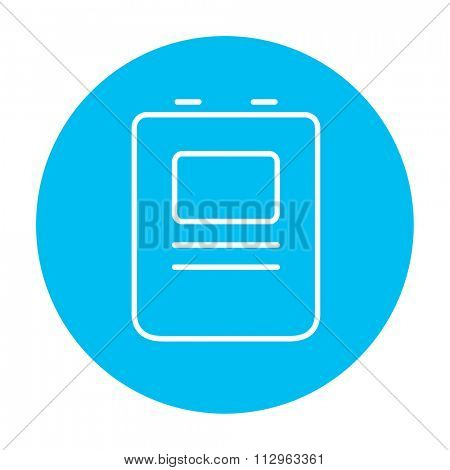 Heart defibrillator line icon for web, mobile and infographics. Vector white icon on the light blue circle isolated on white background.