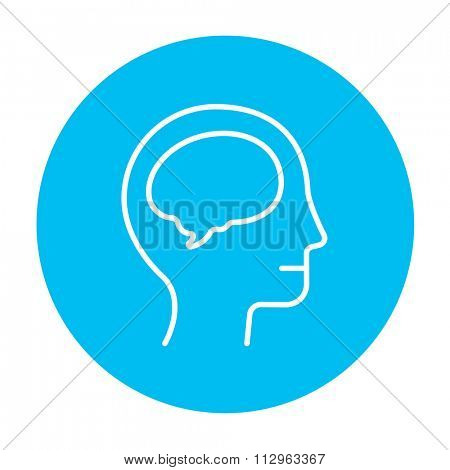 Human head with brain line icon for web, mobile and infographics. Vector white icon on the light blue circle isolated on white background.