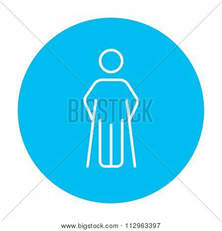 Man with crutches line icon for web, mobile and infographics. Vector white icon on the light blue circle isolated on white background.