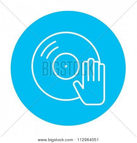 Disc with dj hand line icon for web, mobile and infographics. Vector white icon on the light blue circle isolated on white background.