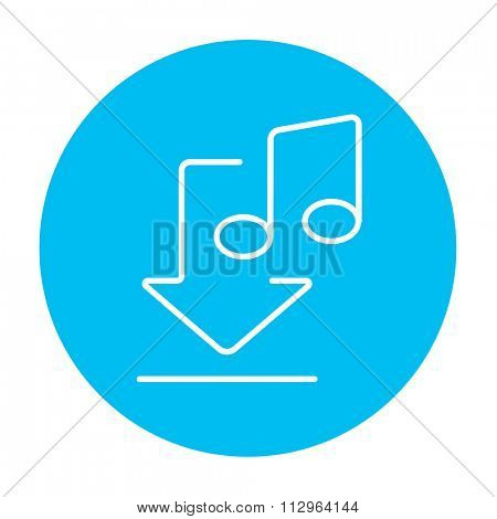 Download music line icon for web, mobile and infographics. Vector white icon on the light blue circle isolated on white background.