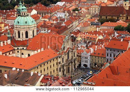 Panorama Of Prague Old Town With Red Roofs, Czech Republic.