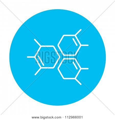 Chemical formula line icon for web, mobile and infographics. Vector white icon on the light blue circle isolated on white background.