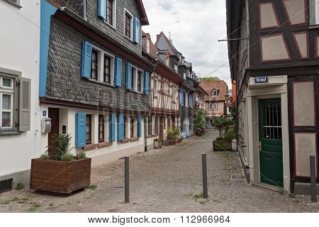 Alley with historic half-timbered houses