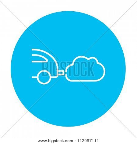 Car spewing polluting exhaust line icon for web, mobile and infographics. Vector white icon on the light blue circle isolated on white background.