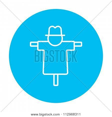 Scarecrow line icon for web, mobile and infographics. Vector white icon on the light blue circle isolated on white background.