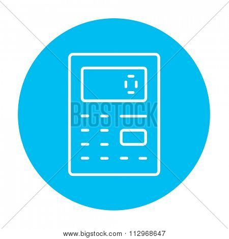 Calculator line icon for web, mobile and infographics. Vector white icon on the light blue circle isolated on white background.