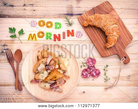 Breakfast  Setup On Wooden Table With Colourful Good Morning Words.