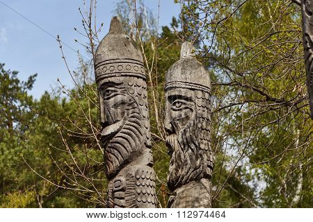 SARATOV, RUSSIA - MAY 1, 2015 : Two sculptures of idols