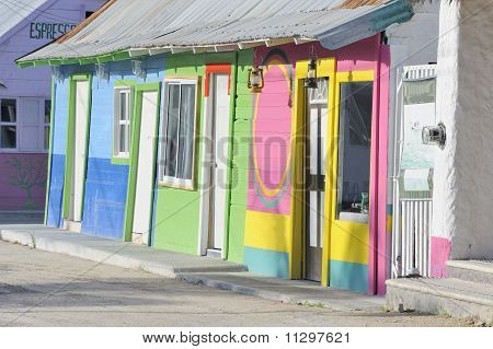Traditional colorful wooden mexican houses