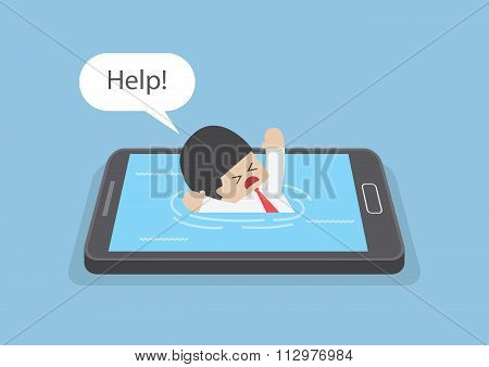Businessman Drowned Or Sank In The Smartphone