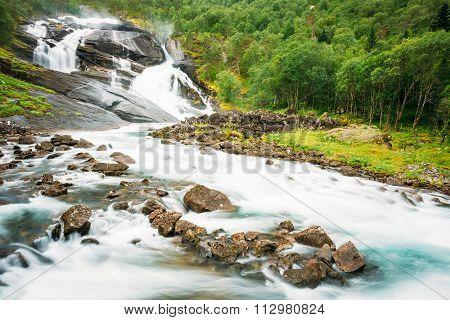 Husedalen - Valley of waterfalls Norway. The trail through Hused