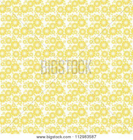 Seamless floral pattern yellow white