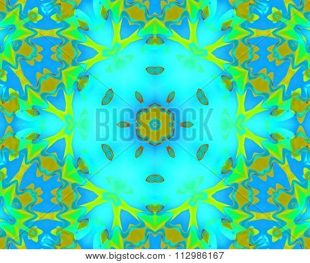 Seamless floral hexagon pattern turquoise yellow