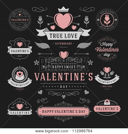 Valentine's Day Labels and Cards Set, Heart Icons Symbols, Greetings Cards, Silhouettes, Retro Typog
