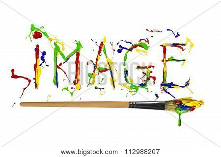 Multicolored Paint Painted Word Image