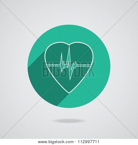 Defibrillator white heart icon isolated on green background. Vector illustration EPS10