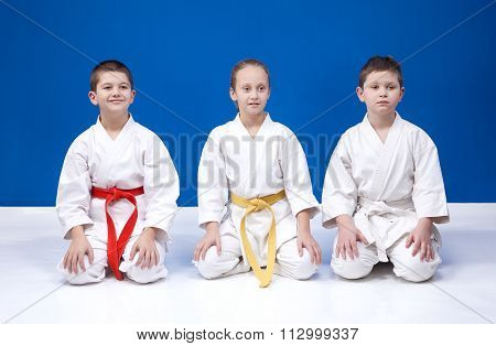Young athletes in karategi sits in positions of karate