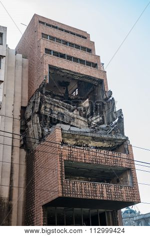 former Yugoslav Ministry of Defence building destroyed during NATO bombing in Belgrade city Serbia poster
