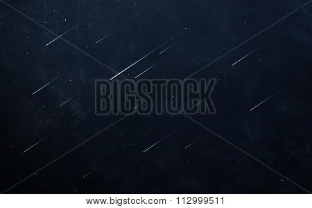 Glowing asteroids in space. Elements of this image furnished by NASA