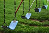 Swings at a playground in Canton, Ohio poster