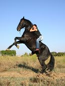 teenager and her black stallion in field; riding girl and free poster