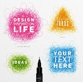 Pen drawing tangle elements circle square oval triangle with differents inscriptions drawing with color ink on paper background poster