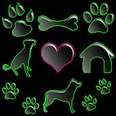 Illustration of icon set for pets on a black background. poster