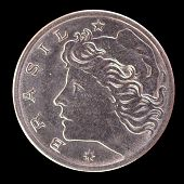 The head face of 5 centavos coin issued by Brazil in 1969 depicting the effigy of the Liberty. Image isolated on black background poster
