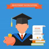 Invest in education concept. Vector illustration in flat style design. Stack of books, diploma and university student cap. Scholarship, money savings, loan. poster