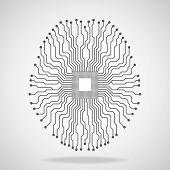 Brain. Cpu. Circuit board. Vector illustration. Eps 10 poster