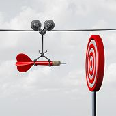 Success hitting target as a business assistance concept with the help of a guide as a symbol for goal achievement management and aim to hit the bull's eye as a dart assured to go straight towards the center. poster