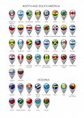 Map marker set with state flags of sovereign countries of North and South America continents and Oceania with captions in alphabet order isolated on white background poster