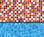 red mosaic pavement with swimming  pool background poster