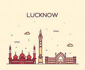 Lucknow skyline detailed silhouette Trendy vector illustration linear style poster