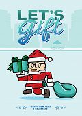santa clause run with gift box to persuade let's gift in new year poster