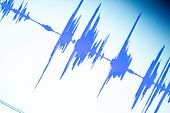 Audio studio digital voice recording voiceover sound wave on computer screen. poster