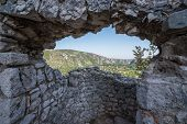 aerial view from medieval fortress in Pocitelj village in Bosnia and Herzegovina poster