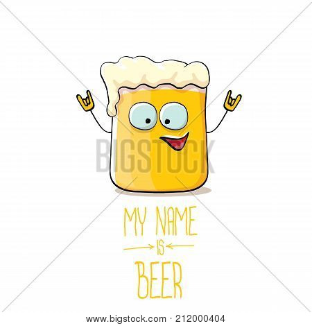 vector cartoon funky beer glass character with sunglasses isolated on white background.vector beer comic label or poster design template. my name is beer or happy friday concept illustration