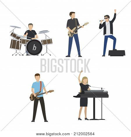 Faceless musicians play on big drum set, electric guitar, bass guitar, black synthesizer and sing in microphone isolated vector illustrations set.