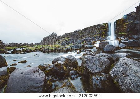 Waterfall At Pingvellir, The Divide In Iceland Between The Eurasian Continent And The North American