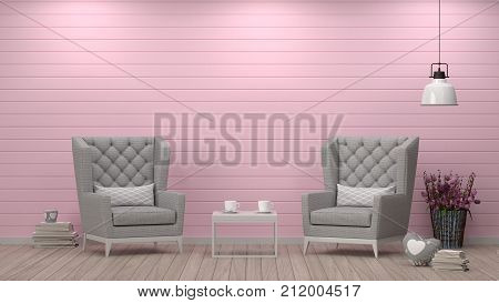 simple living roomarmchair in front of white wall interior design 3D illustration Scandinavian interior design empty room clean pink wall
