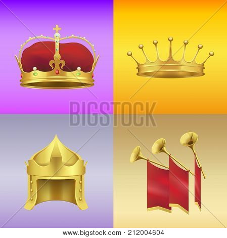 Gold kings crowns with gems, in form of helmet and with spires and gold chimneys with red cloth vector illustrations on colorful background.