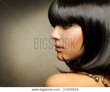 Hairstyle.Beautiful Brunette Girl.Healthy Hair
