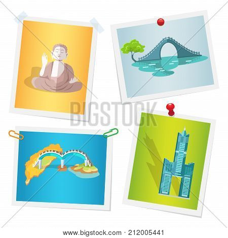 Images with Taiwanese national attractions attached by paper clips, drawing pins and scotch tape to wall. Vector illustration in flat design of photographs with memories about travel to Asian country
