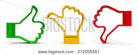 Thumb up thumb down and thumb middle icons isolated on white background - represents customer satisfaction and feedback three-dimensional rendering 3D illustration