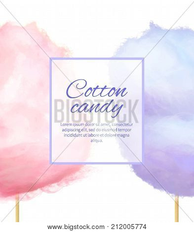 Cotton candy banner with sweet floss form of spun sugar vector colorful illustration isolated on white with place for text. Pink and purple candies
