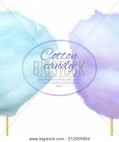 Cotton candy banner with sweet floss form of spun sugar vector colorful illustration isolated on white with place for text. Blue and purple candies