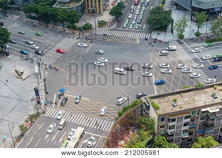 Chengdu, China - July 17, 2017 : large crossroads aerial view in daylight in downtown Chengdu.