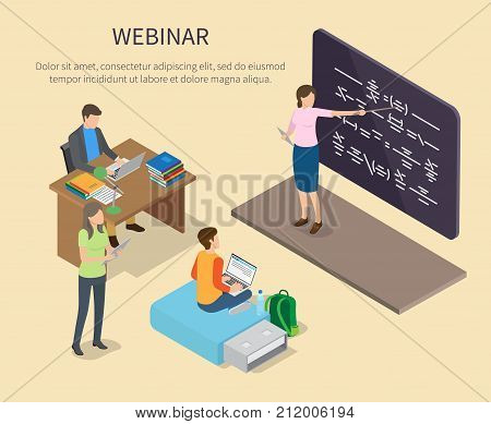 Webinar for people studying at home vector poster. Web banner of man working at table with books, boy on flash drive and standing girl with tablet